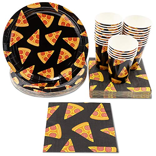 Price comparison product image Pizza Party Supplies – Serves 24 – Includes Paper Plates,  Napkins,  and Cups for Birthdays,  Movie Nights,  and More