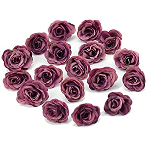 Luccaful 10pcs 3cm Mini Silk Artificial Rose Flowers Cloth for Wedding Party Home Room Decoration DIY Dress Accessories Fake Flowers,Deep Purple 8