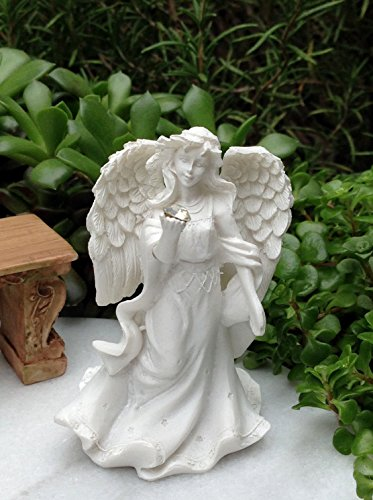Miniature Figurine Fairy Garden White Angel Figurine With Gem & Stars