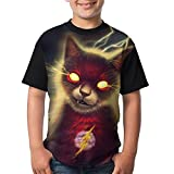 Flash Cat Youth Boy's Girl's 3D Printed Casual Short Sleeve Funny Round Neck Tank Tees Tops T-Shirt Small