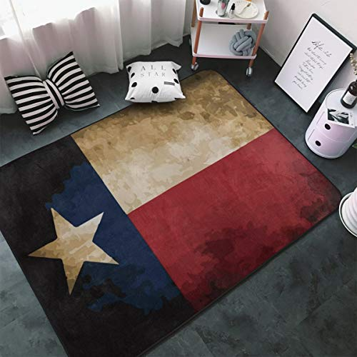 MODREACH Soft Bedroom Rugs - 60 x 39 inches Floor Rugs Nursery Carpet for Living Room Kids Room Nursery Home Decor Area Rug, Vintage Flag Texas from MODREACH