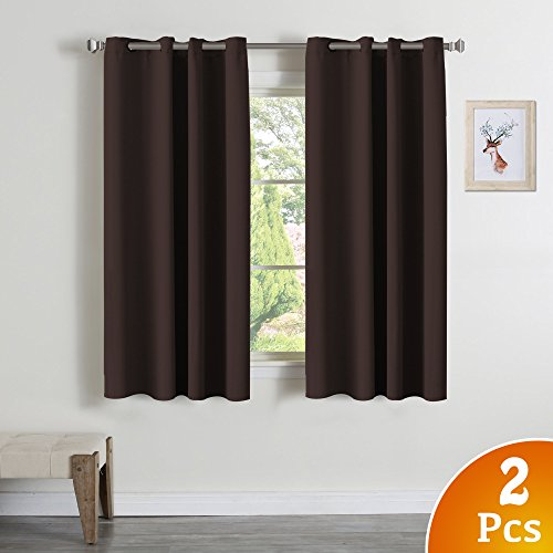 Blackout Curtains for Bedroom/ Living Room, Seal Brown/ chocolate, Themal Insulated, Grommet/ Eyelet Top, 52