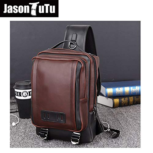 cdce5cc47710 Amazon.com: Chest Crossbody Bags for Men, Crazy Horse PU Leather ...