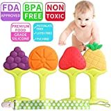 Baby Teether Toys Teething Toys - BPA Free Soft Silicone Baby Fruit Teethers Toys with Pacifier Clip/Holder - Non-Toxic, Soft, Durable & Freezer Safe for Boys, Girls Infants & Toddlers(5 Pack)