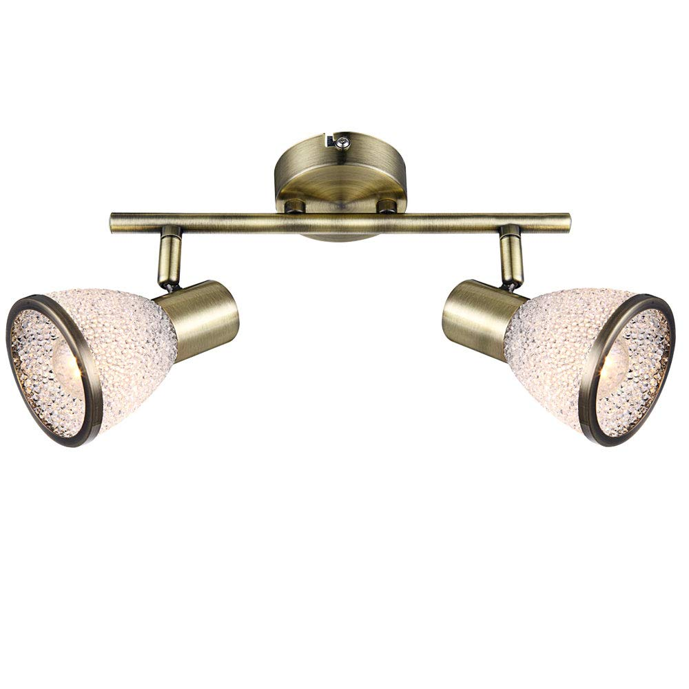Decken Strahler verstellbar Alt Messing Fernbedienung Spot Lampe dimmbar im Set inkl. RGB LED Leuchtmittel