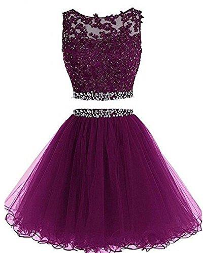 Dydsz Short Prom Dress Homecoming Party Dresses 2 Piece for Women Juniors Cocktail Gown 2019 D127 Grape 14 (Jr Plus Size Prom Dresses)