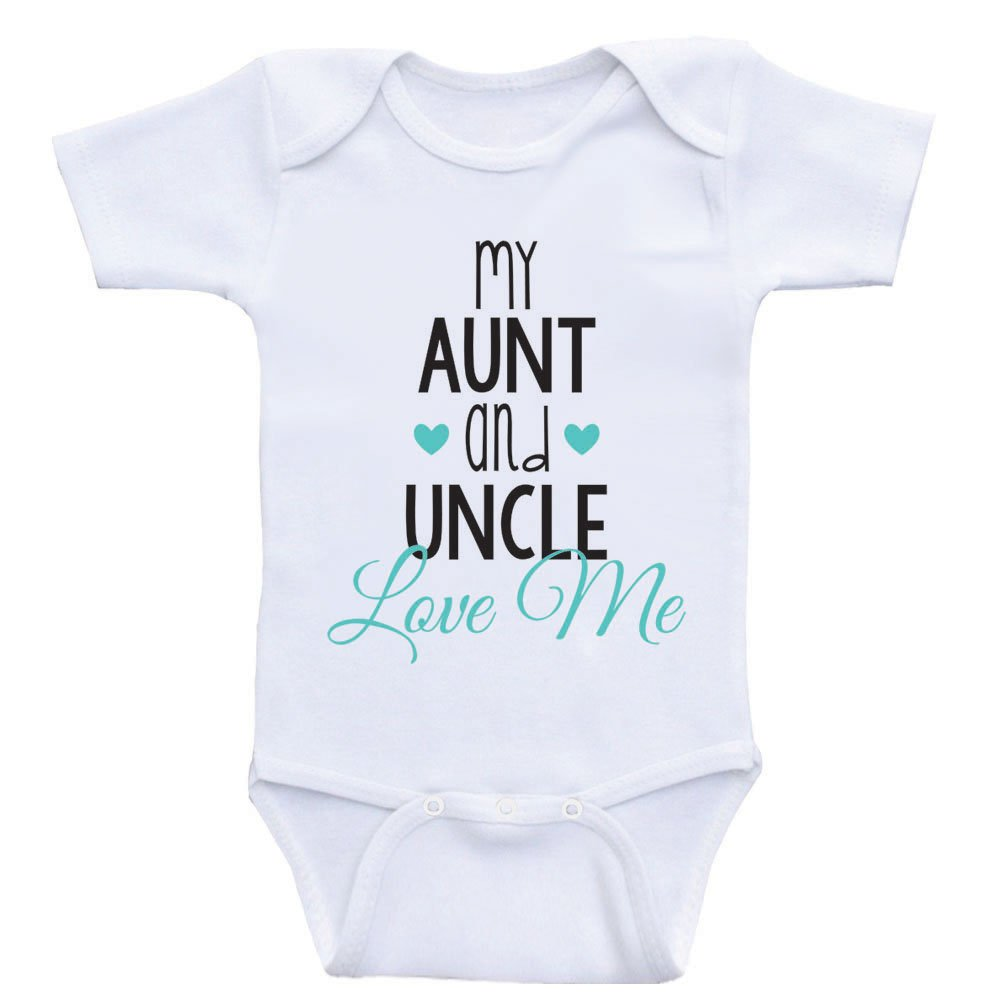 Cute Baby One Piece My Aunt and Uncle Love Me Newborn Baby Clothes (18mo-Short Sleeve, Sea Foam Green Text)