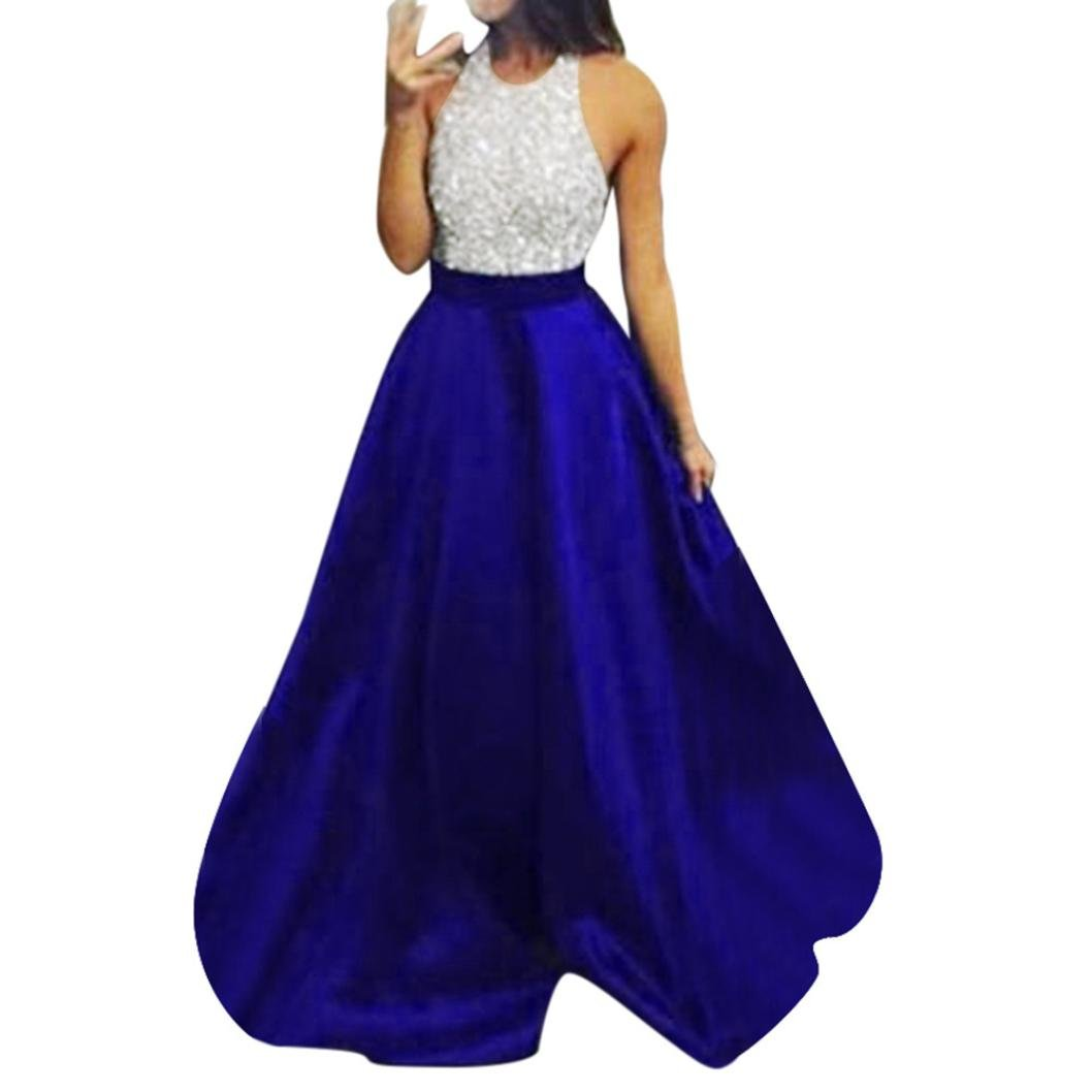 Kimloog Party Gown, Women Sleeveless Halter Sequins Bridesmaid Party Long Maxi Dress (S, Blue)