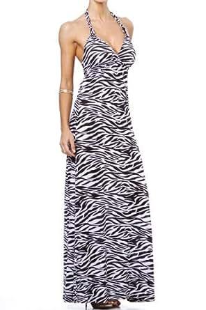 MAXI BOHO SUMMER GOWN VINTGE HALTER CELEBRITY BEACH PARTY DRESS (Medium, Zebra)