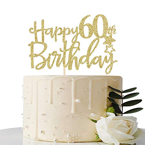 Gold Glitter Happy 60th Birthday Cake Topper,Hello 60, Cheers to 60 Years,60 & Fabulous Party Decoration -