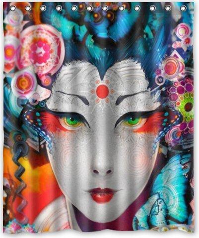 Japanese Art Geisha Girl Psychedelic Popular Bath Curtain Shower 60quot X 72quot
