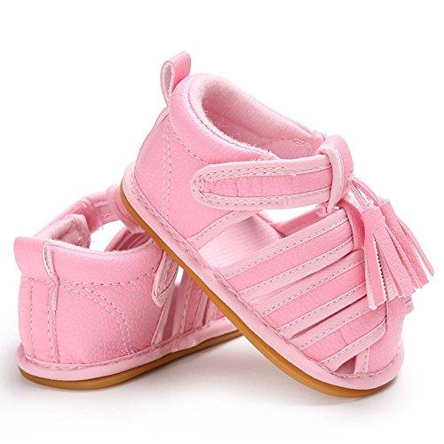 hibote Bebé recién nacido Niñas borlas de cuero suave antideslizante Sandalias Prewalker zapatos Black 12-18M rosado