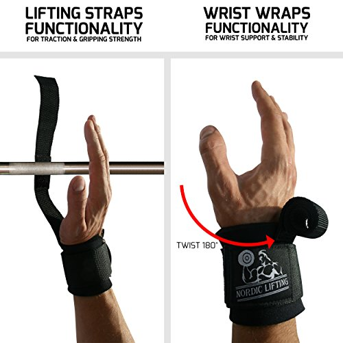 Lifting Straps & Wrist Wraps Functionality in 1 StrapWrapz™ is for Weightlifting, Powerlifting & Cross Training for the Best Support With Neoprene Padding by Nordic Lifting 1 Year Warranty