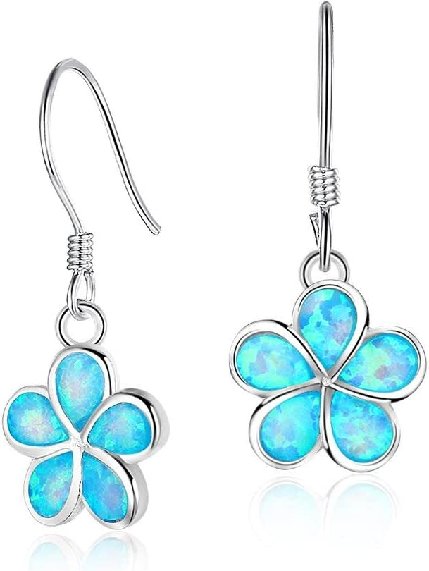 J.MeMi'S S925 Plata Gemas Australianas Azul Ópalo Pendientes Colgantes Flor para Regalo de San Valentín Mujeres