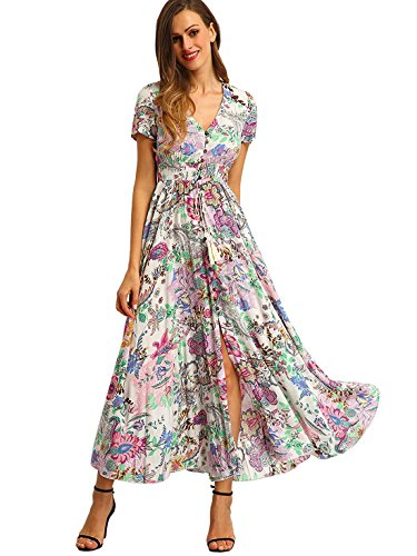 : Milumia Women's Button Up Split Floral Print Flowy Party Maxi Dress