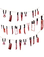 3 Sets Bloody Weapon Garland Banner - Halloween Party Decorations, Zombie & Vampire Party Supplies, 3 Strings of Bloody Real Look Weapons, Halloween Decorations Indoor Outdoor, 28 Pcs Halloween Banner