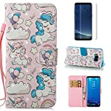 For Samsung Galaxy S8 Case and Card Holder,OYIME [Cute Unicorn] 3D Pattern Design Bookstyle Leather Wallet Holster with Wrist Lanyard Kickstand Function Full Body Protective Bumper Magnetic Closure Flip Cover with Screen Protector