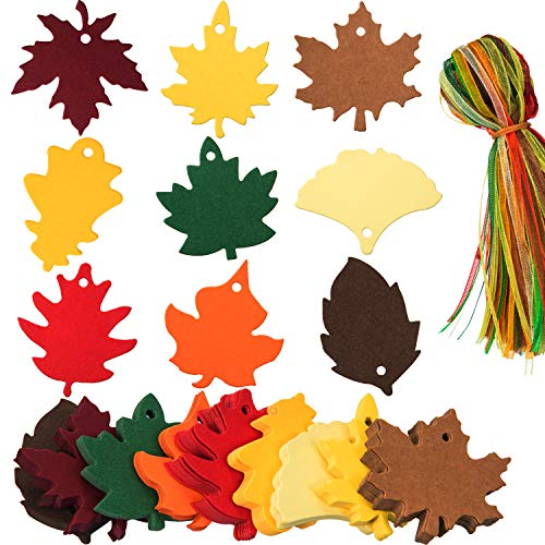 Chengu 360 Pieces 9 Styles Maple Leaves Gift Tags Favor Paper Tags and Organza Ribbons for Autumn, Thanksgiving, Wedding, Craft Presents, Christmas