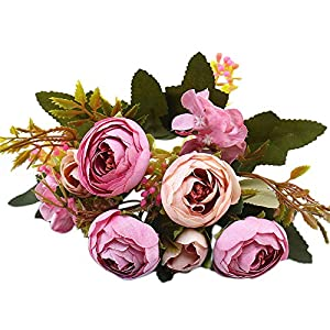 YJYdada 1 Bouquet Vintage Artificial Peony Silk Flowers Bouquet for Decoration (Purple) 73