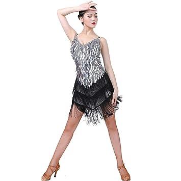 Dkhsy Mujeres Vestido de Baile Latino Lentejuelas Borla ...