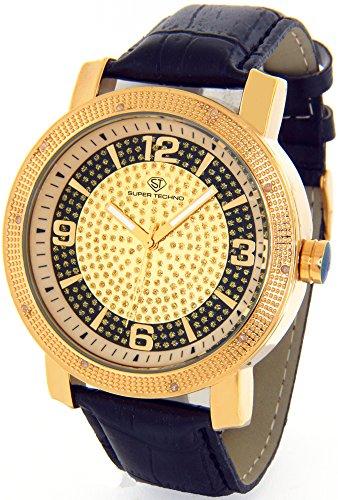 Super Techno Diamond Watch Mens Genuine Diamond Watch Oversized Gold Case Leather Band w/ 2 Interchangeable Watch Bands #M6026 (Super Techno Watches For Men Gold compare prices)