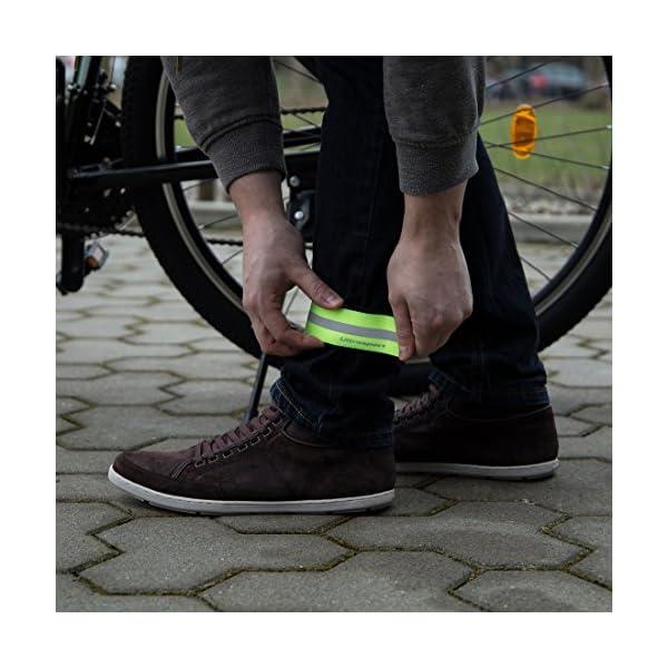 Ultrasport Banda reflectante; banda de reflejo de luz con velcro para mayor seguridad en cualquier actividad outdoor, amarillo neón 3