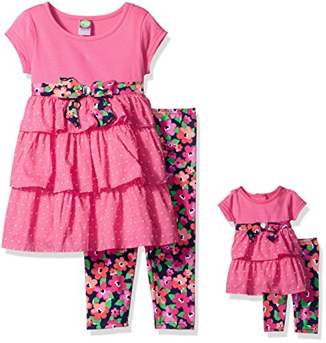 Dollie & Me Little Girls' Knit Tiered Mini Dress with Legging and Matching Doll Outfit, Pink/Multi, (Sixties Outfit)