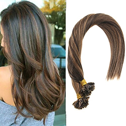 VeSunny 16inch U Tip Keratin Hair Extensions Color #2 Darkest Brown Mixed #6 Light Brown Nail U Tip Hair Extensions 50Gram Per - Packages Usps International