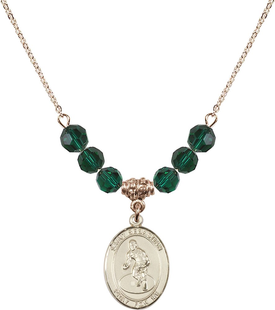 Gold Plated Necklace with 6mm Emerald Birthstone Beads & Saint Sebastian/Wrestling Charm. by F A Dumont