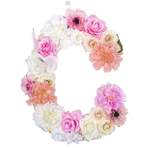 DARONGFENG Artificial Floral Letter for Room Door Wall Decoration (C)