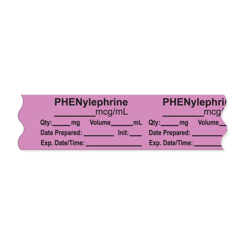 PDC Healthcare AN-2-81MCG Anesthesia Tape with Exp. Date, Time, and Initial, Removable, ''PHENylephrine mcg/mL'', 1'' Core, 3/4'' x 500'', 333 Imprints, 500 Inches per Roll, Violet (Pack of 500)