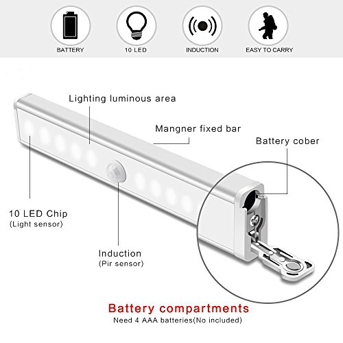 Motion Sensor Closet Lights RUOYIER Portable Wireless 10-LED Stick-on anywhere Cabinet motion sensing light with Magnetic Strip for Wardrobe Stairs Step Night Light Bar(Battery Operated 3-pack) by Ruoyier (Image #6)'