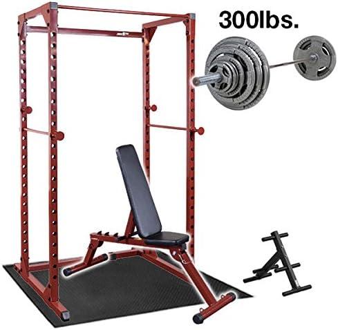 Best Fitness電源ラック重量ベンチ、300lb。重量設定、バー、フロアマット