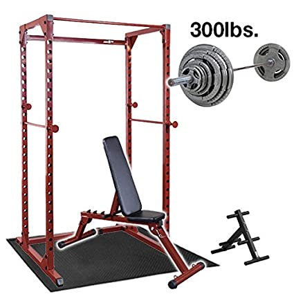 Amazon Com Best Fitness Power Rack With Weight Bench 300lb
