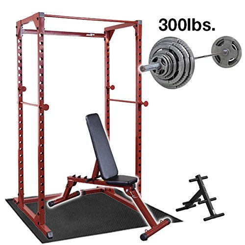 Best Fitness Power Rack with Weight Bench, 300lb. Weight Set and Bar, Floor Mat