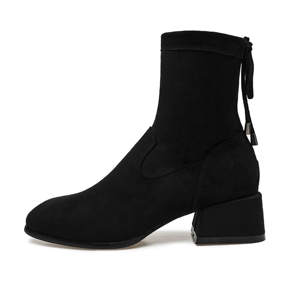 YAN Damenmode Stiefel Wildleder Herbst Stiefel Chunky Heel Mitte der Wade Stiefel Hochzeit Party & Abendkleid Formelle Schuhe