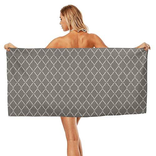 (ZHIDAONNU Unisex Women's Texture Stripe Gray White Design Soft Absorbent Light Travel Beach Bath Towel 31.5