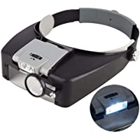 for Dental Medical Surgical,Jewelry Appraisal AXZHYX Hand-held Magnifier Double Eyes Hands Free Headband Magnifier and Miniature Engraving,2.5X LED with Headlights Visor Glasses Magnifying