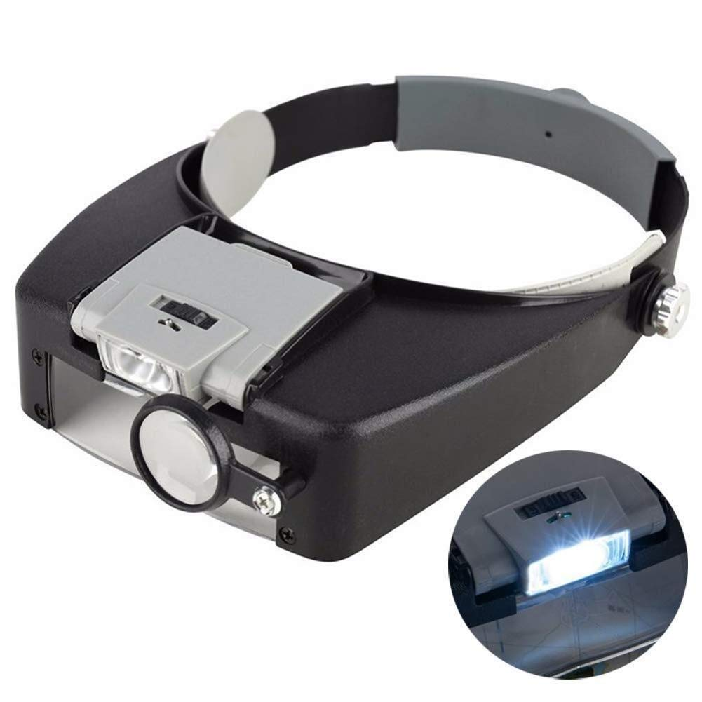 AXZHYX Hand-held Magnifier Headband Magnifier with 2 LED Light,Handsfree Headset Loupe Head Mounted Magnifying Glasses with 4 Detachable Lenses for Reading,Electronic Repair,Jewelry,Sewing,Red