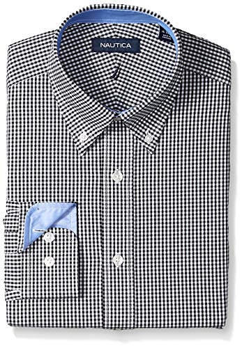 - Nautica Men's Classic Fit Button Down Collar Dress Shirt, Black Check, 16.5 34/35