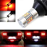 iJDMTOY (1) 28-SMD Red/White LED Bulbs For 2015-up Ford Mustang, 2011-2014 Chevy Volt As Rear Fog Light, Backup Reverse Light