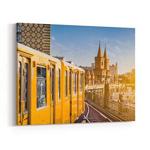 - Rosenberry Rooms Canvas Wall Art Prints - Panoramic View of Berliner UBahn with Oberbaum Bridge in The Background in Golden Evening Light at Sunset with Retro Vintage Instagram Style (24 x 16 inches)