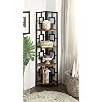 Vintage Brown Finish Black Metal Wall Corner 4-Tier Bookshelf Bookcase