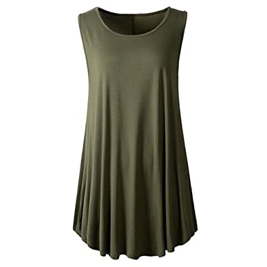 bcf944d13792b4 Fashion Women Casual Solid O-Neck Sleeveless Tunic Swing Flare Tank Top  Vest