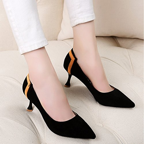 Schuhe Work Mid Stöckelschuhe Black Damenschuhe Schwarz größe Damenschuhe Female Fersen Single Pendler 34 wies Spring Schuhe Farbe dünne Heel HWF IRwtXx5x