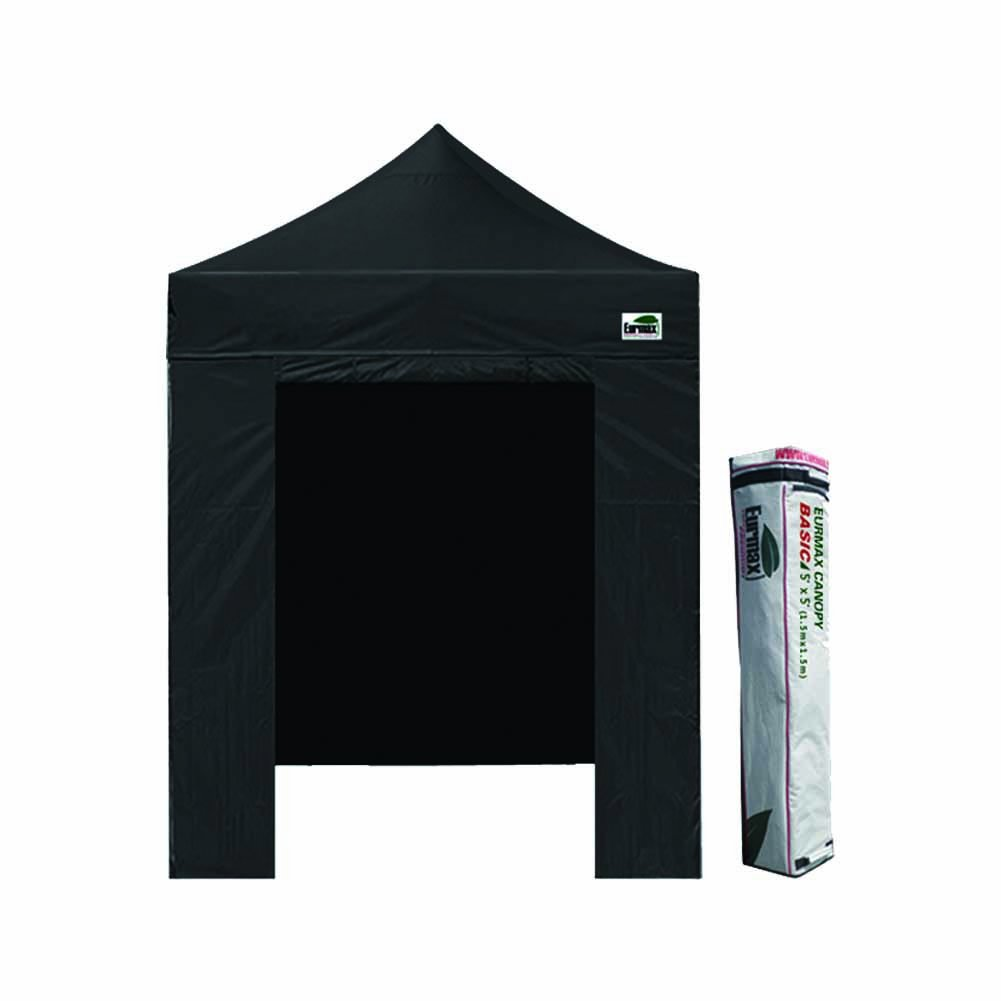 Eurmax Portable Canopy 5x5 Pop up Tent Instant Canopy w/ Enclosure Wall and Carrying Bag (Black) by Eurmax