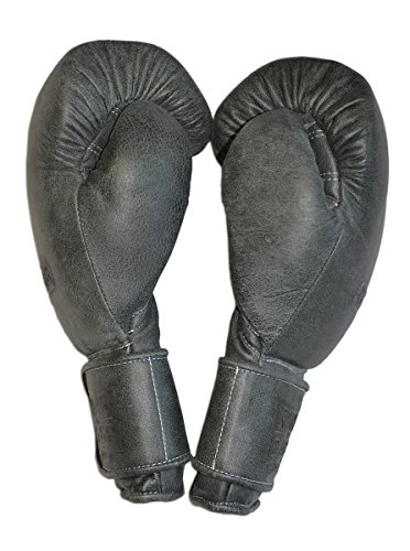Japanese-Style Training Boxing Gloves 2.0 - Hook&Loop or Lace Up - 12oz, 14oz, 16oz, 18oz - 9 Colors to Choose (Cracked Black, 16oz Hook&Loop)