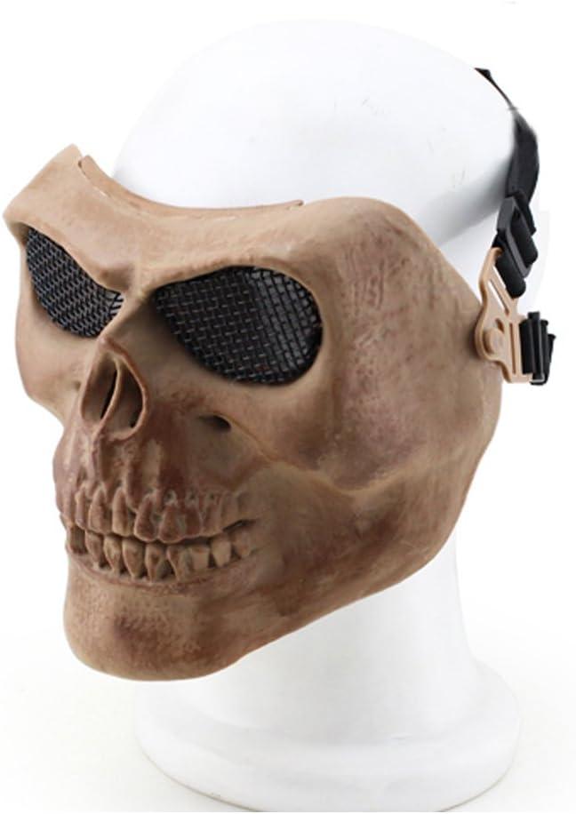 YX - Máscara metálica para bicicleta, Halloween, calavera de esqueleto, Airsoft, paintball, pistola de balines, cara completa