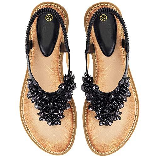 Black Rhinestone Sandals - Ruiatoo Comfort Sandals for Women Bohemia T-Strap Ladies Summer Flats Sandals Rhinestone Flower Flip Flops Black 38
