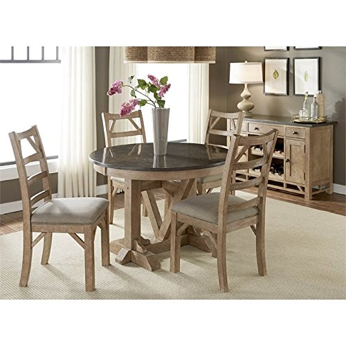 A-America West Valley 6 Piece Round Dining Set in Rustic Wheat